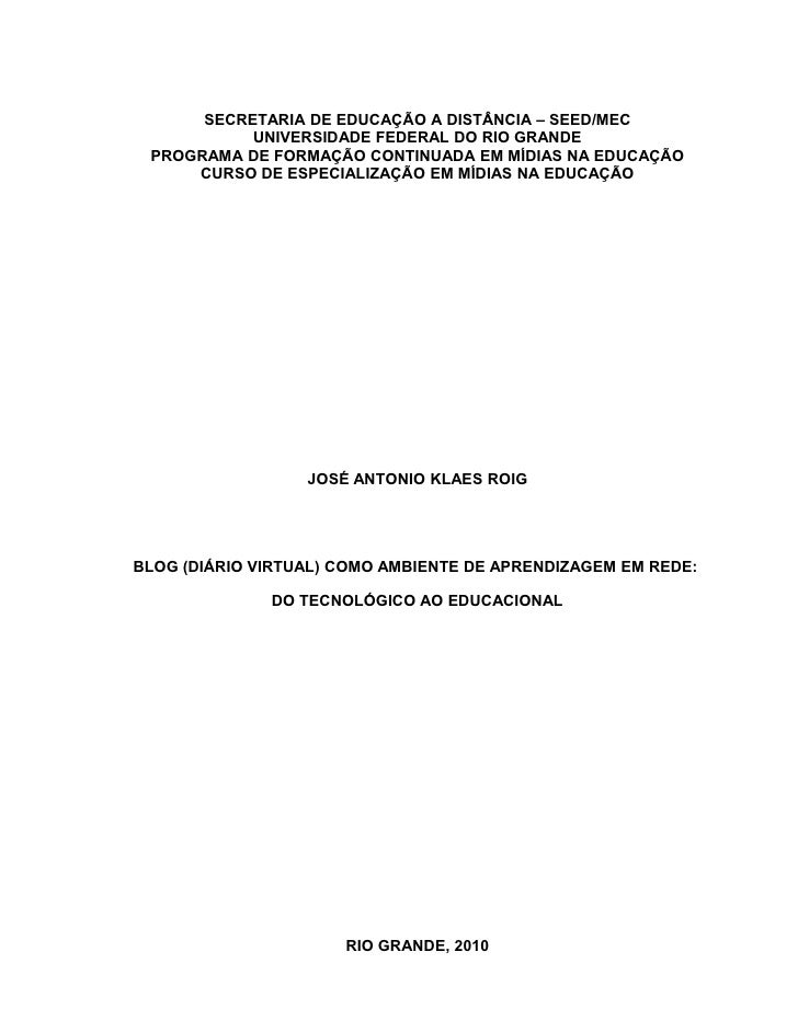 1          SECRETARIA DE EDUCAÇÃO A DISTÂNCIA – SEED/MEC            UNIVERSIDADE FEDERAL DO RIO GRANDE  PROGRAMA DE FORMAÇ...