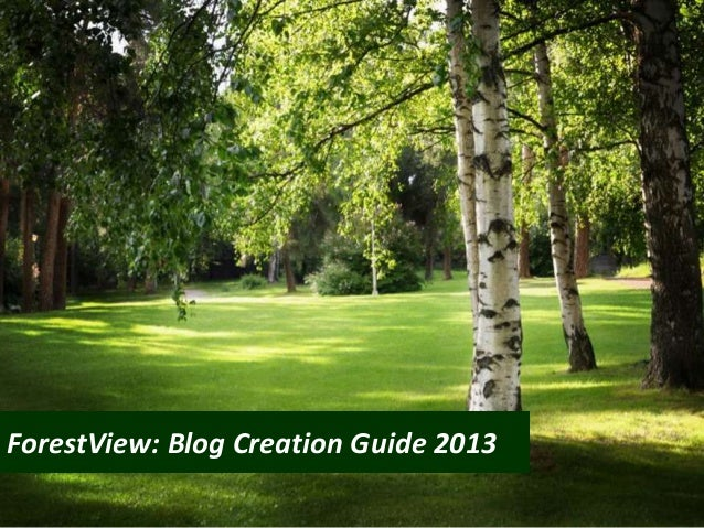 ForestView: Blog Creation Guide 2013