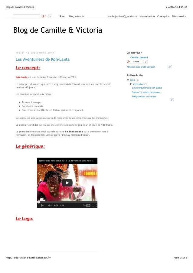Blog de Camille & Victoria 25/09/2014 15:44  0 Plus Blog suivant» camille.jandard@gmail.com Nouvel article Conception Déco...