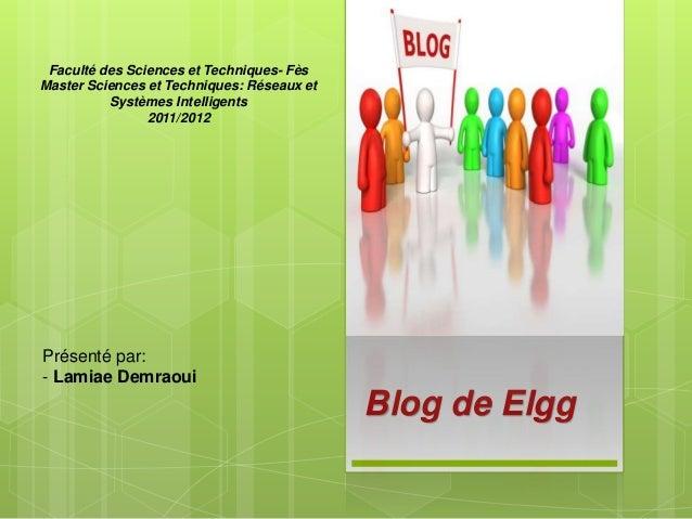 Blog de Elgg Présenté par: - Lamiae Demraoui Faculté des Sciences et Techniques- Fès Master Sciences et Techniques: Réseau...