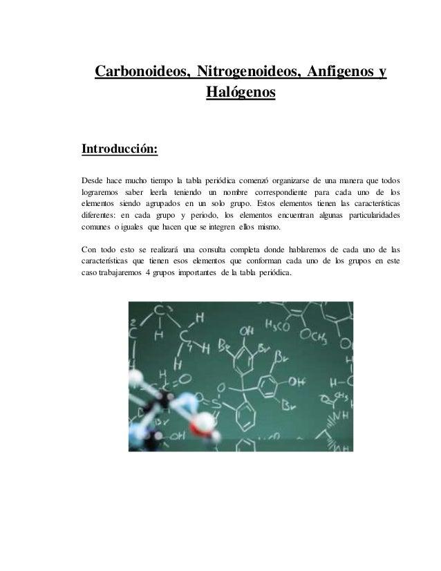 Carbonoideosnitrogenoideosanfigenos y halogenos urtaz Gallery