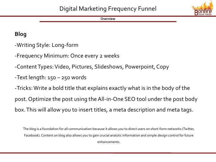 Digital Marketing Frequency Funnel                                                         Overview    Blog -Writing Style...