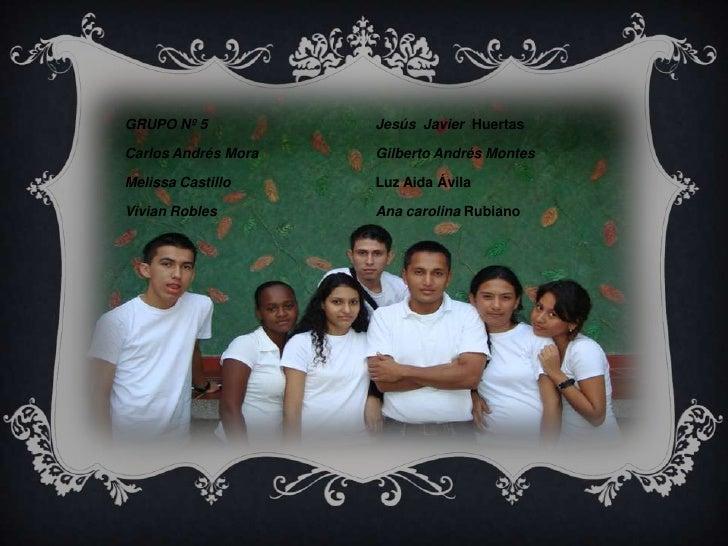 GRUPO Nº 5<br />Carlos Andrés Mora<br />Melissa Castillo<br />Vivian Robles<br />Jesús  JavierHuertas<br />Gilberto Andrés...