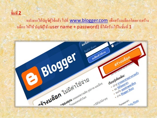 ขั้นที่ 2 หลังจากได้บัญชีผู้ใช้แล้ว ไปที่ www.blogger.com เพื่อสร้างบล็อกโดยการสร้าง บล็อก ให้ใช้บัญชีผู้ใช้ (user name + ...