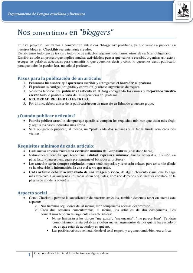 Departamento de Lengua castellana y literatura 1 Gracias a Aitor Lázpita, del que he tomado algunas ideas Nos convertimos ...