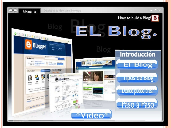Blog Blog Blog Blog Developed by Mark James Normand Blog Blog Introducción El Blog Tipos de Blog Donde puedo crear Paso a ...