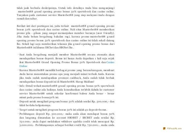 Presentasi Masterbet88 Grand Opening Promo Bonus 50 Sportsbook Dan C