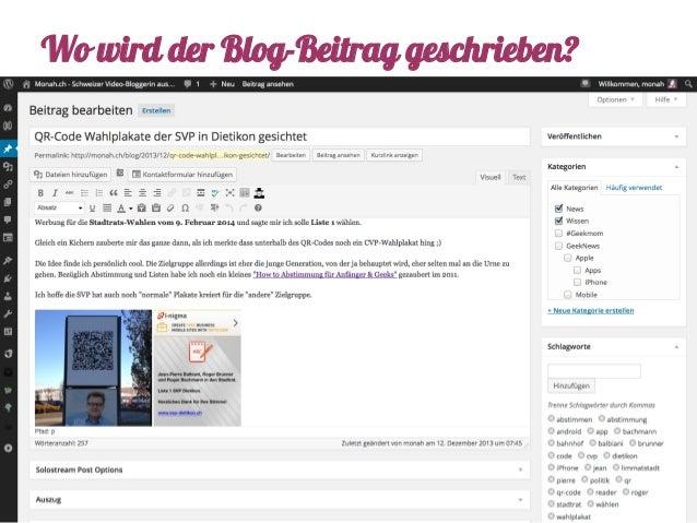 Wo wird der Blog-Beitrag geschrieben?