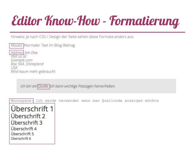 Editor Know-How - Formatierung
