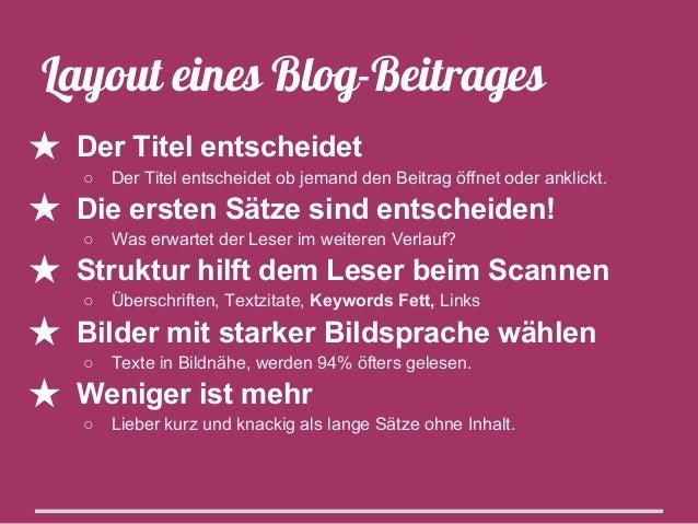 Top 3 Titel-Tipps ★ Haupt-Keyword(s) im Blog-Titel verwenden ○  Kern-Aussage des Beitrags sollte klar sein  ★ Worte mit Bi...