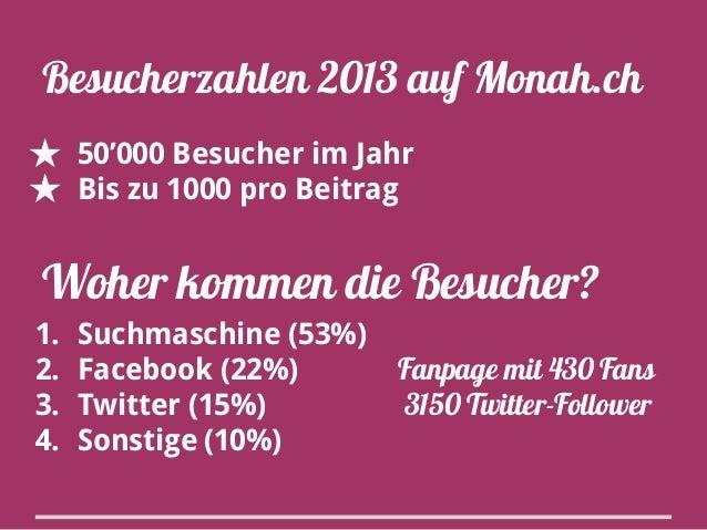 Besucherzahlen 2013 auf Monah.ch ★ 50'000 Besucher im Jahr ★ Bis zu 1000 pro Beitrag  Woher kommen die Besucher? 1. 2. 3. ...