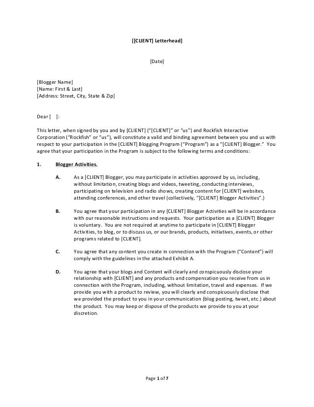 Blogger agreement form template for Co promotion agreement template