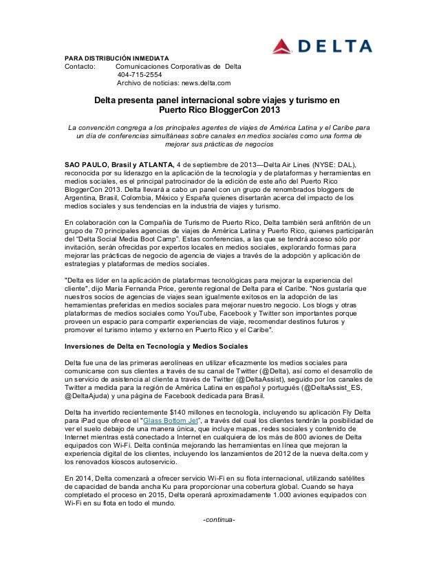 PARA DISTRIBUCIÓN INMEDIATA Contacto: Comunicaciones Corporativas de Delta 404-715-2554 Archivo de noticias: news.delta.co...