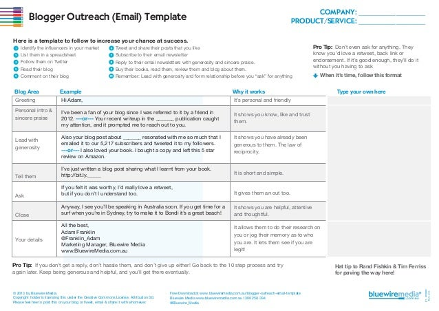 COMPANY: ________________ PRODUCT/SERVICE: ________________  Blogger Outreach (Email) Template Here is a template to follo...