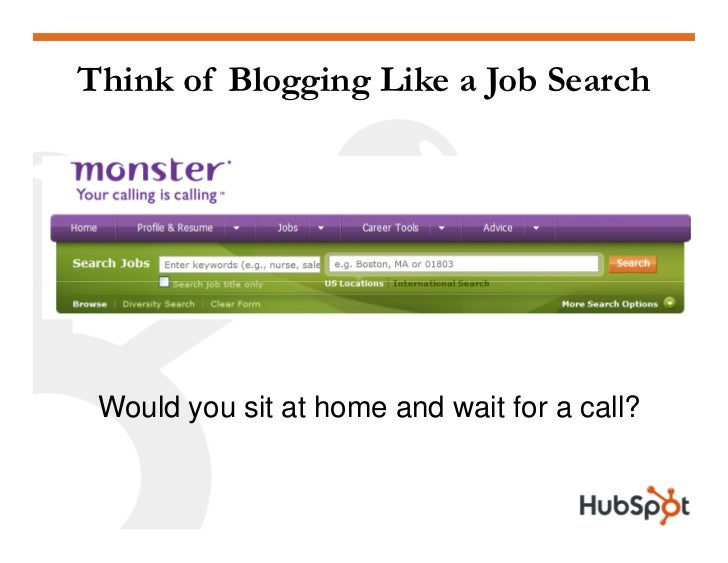 Think of Blogging Like a Job Search      Would you sit at home and wait for a call?