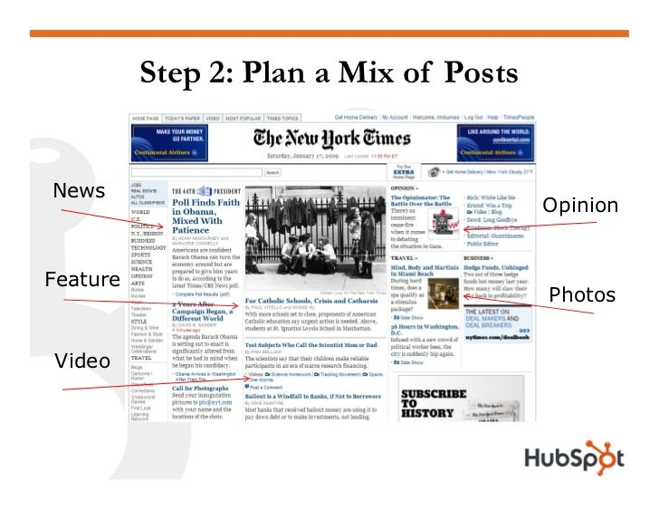 Step 2: Plan a Mix of Posts   News                                         Opinion   Feature                              ...