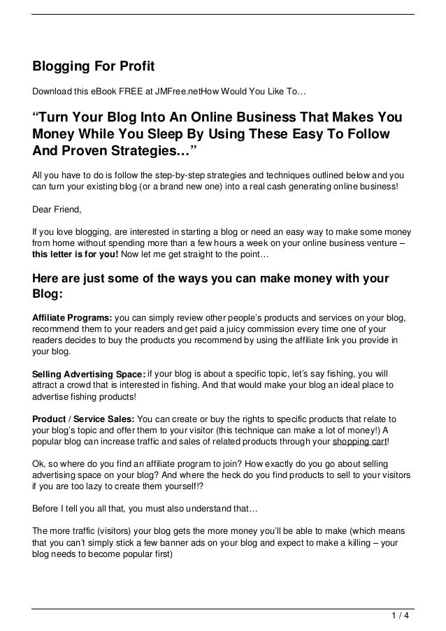 """Blogging For ProfitDownload this eBook FREE at JMFree.netHow Would You Like To…""""Turn Your Blog Into An Online Business Tha..."""