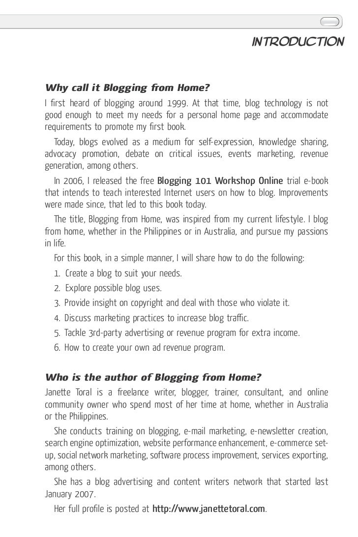 Blogging from Home Book by Janette Toral Slide 3