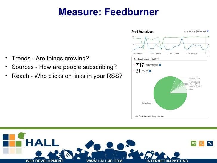 Measure: Feedburner <ul><li>Trends - Are things growing? </li></ul><ul><li>Sources - How are people subscribing? </li></ul...