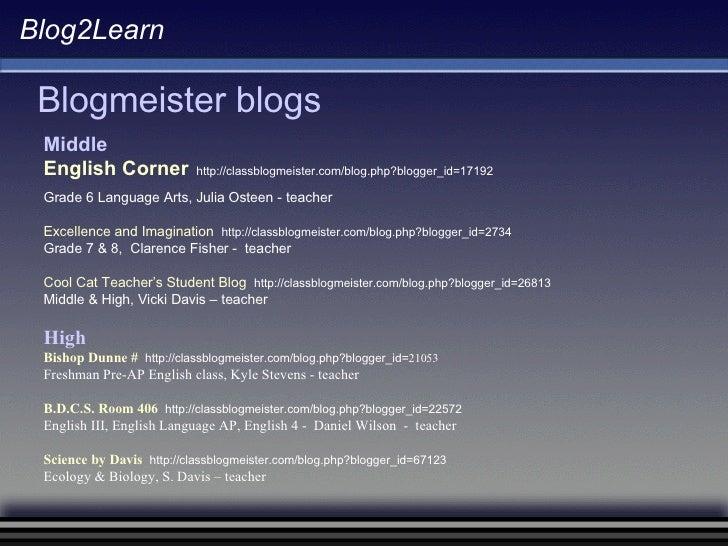 Blog2Learn Blogmeister blogs Middle English Corner   http://classblogmeister.com/blog.php?blogger_id=17192 Grade 6 Languag...