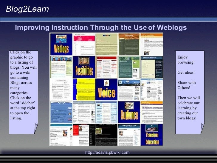 Blog2Learn Improving Instruction Through the Use of Weblogs Click on the  graphic to go to a listing of  blogs. You will g...