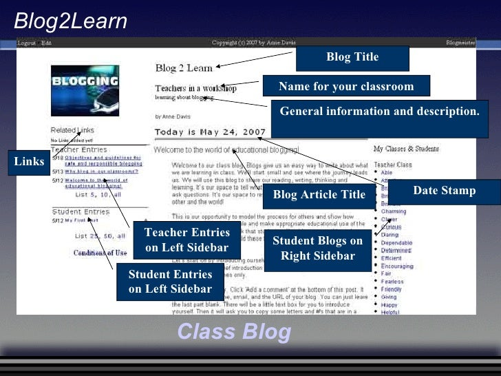 Name for your classroom General information and description. Blog Article Title Student Blogs on Right Sidebar Student Ent...