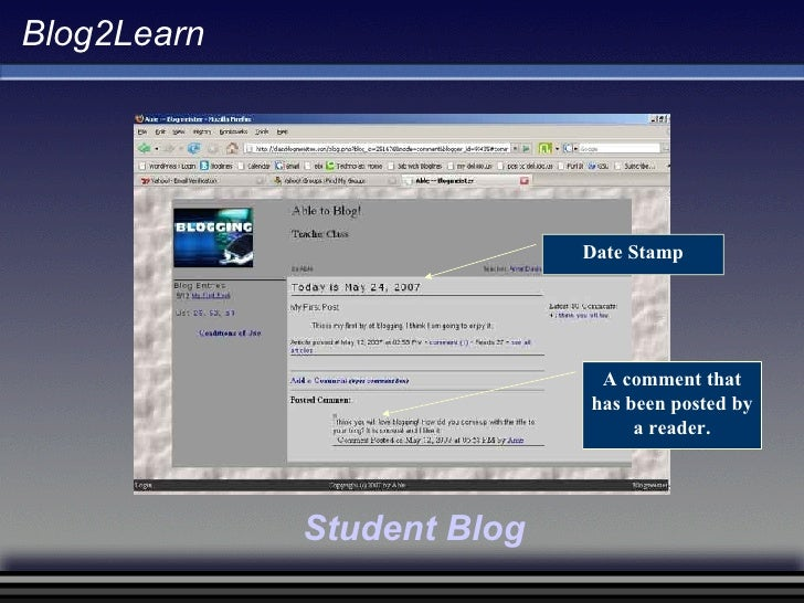 Blog2Learn A comment that has been posted by a reader. Date Stamp Student Blog