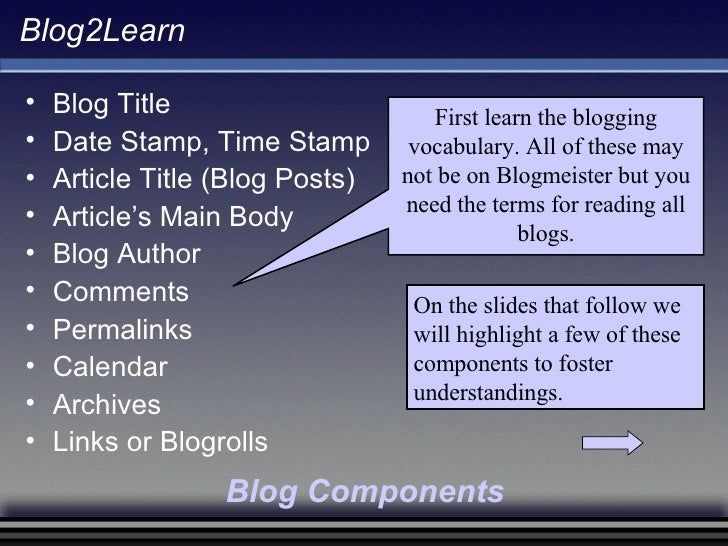 Blog2Learn <ul><li>Blog Title </li></ul><ul><li>Date Stamp, Time Stamp </li></ul><ul><li>Article Title (Blog Posts) </li><...