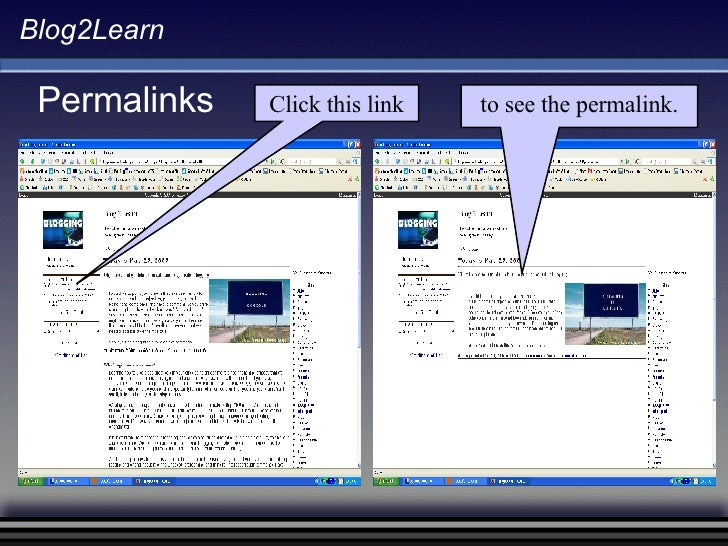 Blog2Learn Permalinks Click this link to see the permalink.