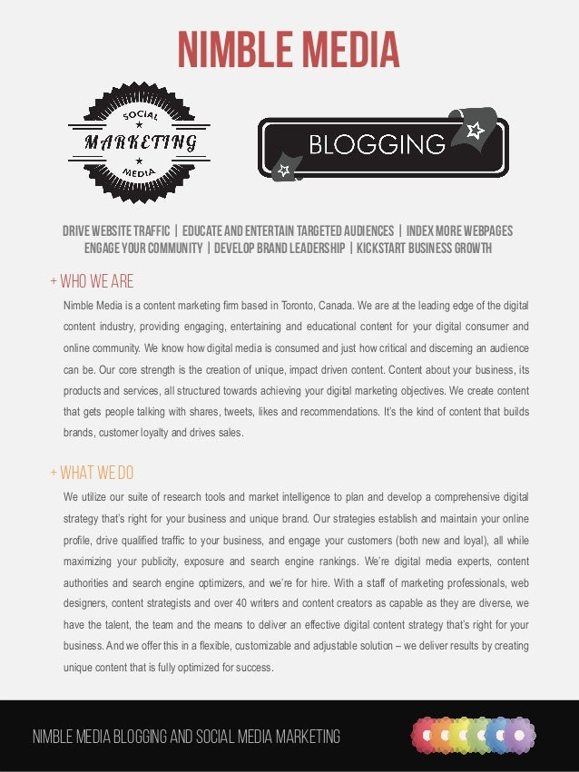Nimble Media Blogging and social media marketing   Nimble Media Drive website traffic | Educate and Entertain targeted a...