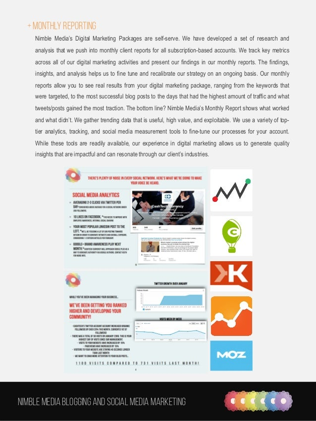 + Monthly reporting Nimble Media's Digital Marketing Packages are self-serve. We have developed a set of research and anal...