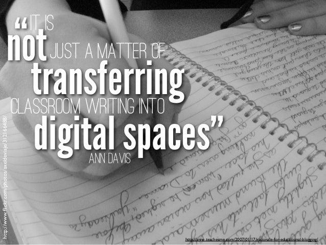 "http://anne.teachesme.com/2007/01/17/rationale-for-educational-blogging/ Ann Davis digital spaces"" "" transferring It is no..."