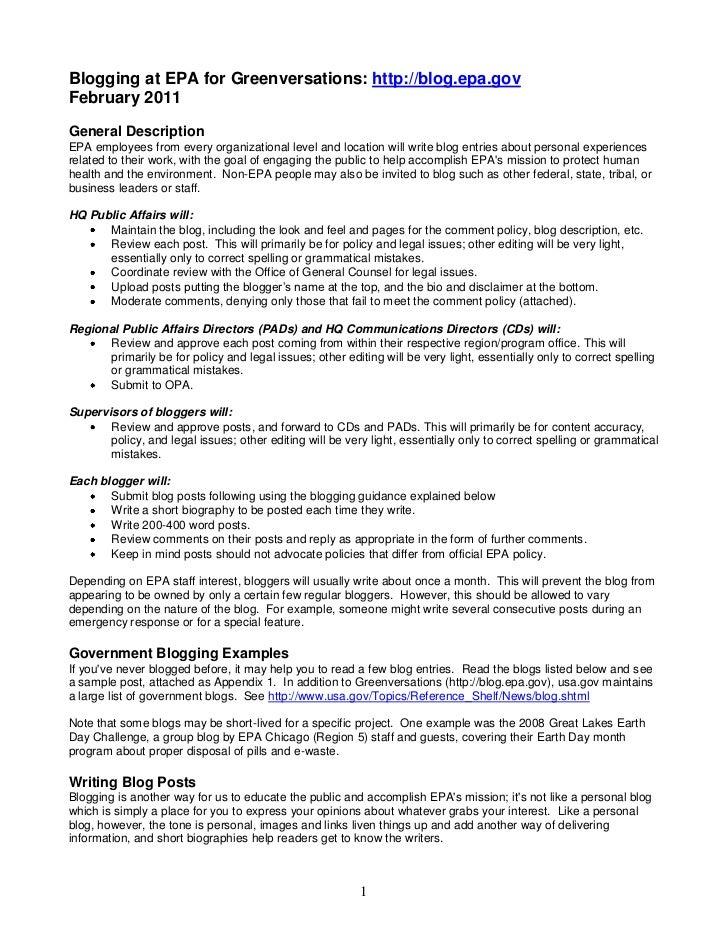 Blogging at EPA for Greenversations: http://blog.epa.govFebruary 2011General DescriptionEPA employees from every organizat...