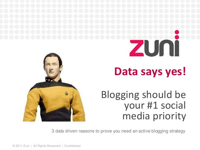 © 2011 Zuni | All Rights Reserved | Confidential  Data says yes!  Blogging should be  your #1 social  media priority  3 da...
