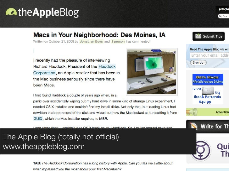 The Apple Blog (totally not official) www.theappleblog.com