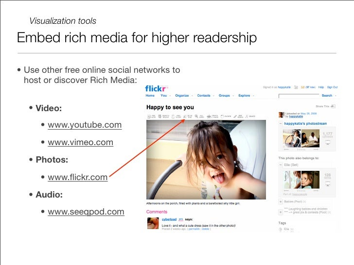 Visualization tools  Create your own Rich content  • Jing (www.jingproject.com/) - free   desktop image and video recorder...