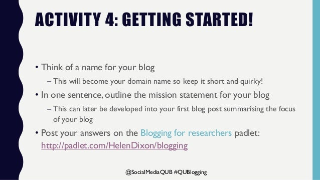 Blogging for researchers