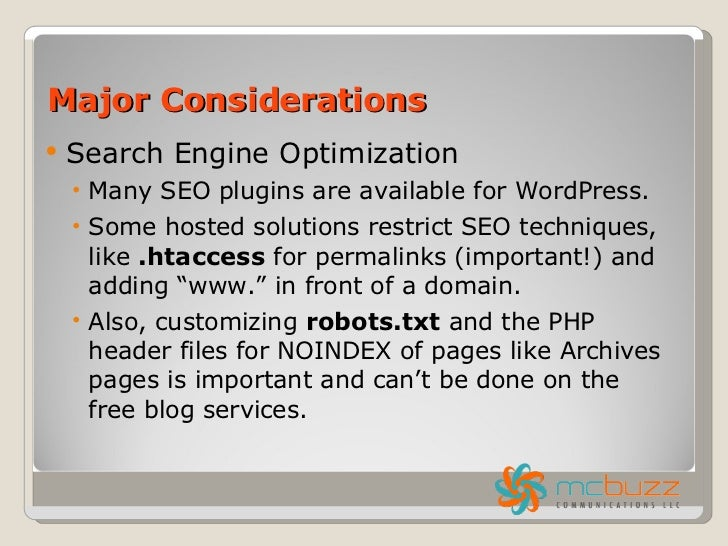 Using a Free Blogging Service vs. Blogging on Your Own Hosted Site slideshare - 웹