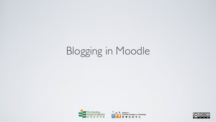 Blogging in Moodle