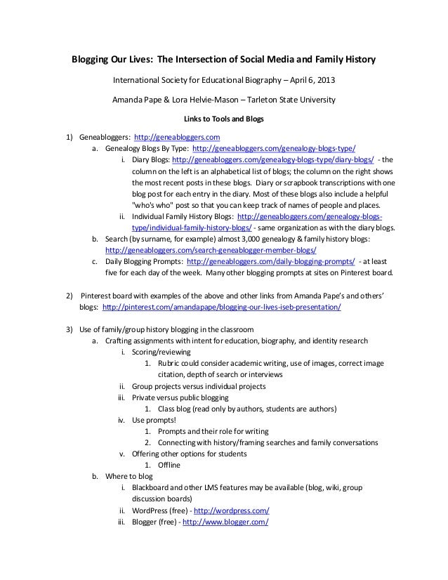 Blogging Our Lives: The Intersection of Social Media and Family History International Society for Educational Biography – ...