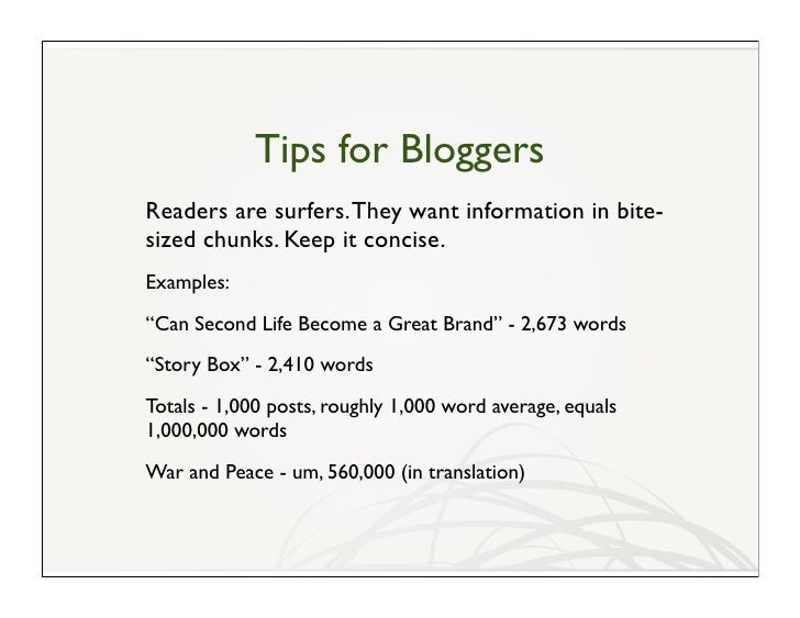 Blogging and Second Life