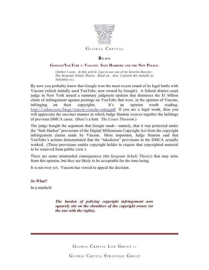GLOBAL CAPITAL                                                   BLOG             GOOGLE/YOUTUBE V. VIACOM: SAFE HARBORS A...