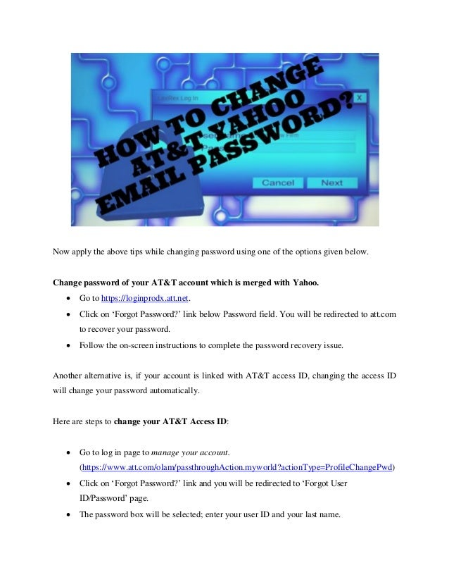 change yahoo email password at&t