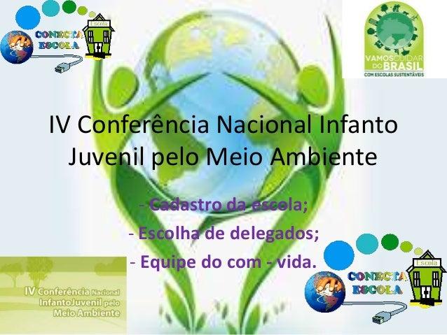 IV Conferência Nacional Infanto Juvenil pelo Meio Ambiente - Cadastro da escola; - Escolha de delegados; - Equipe do com -...
