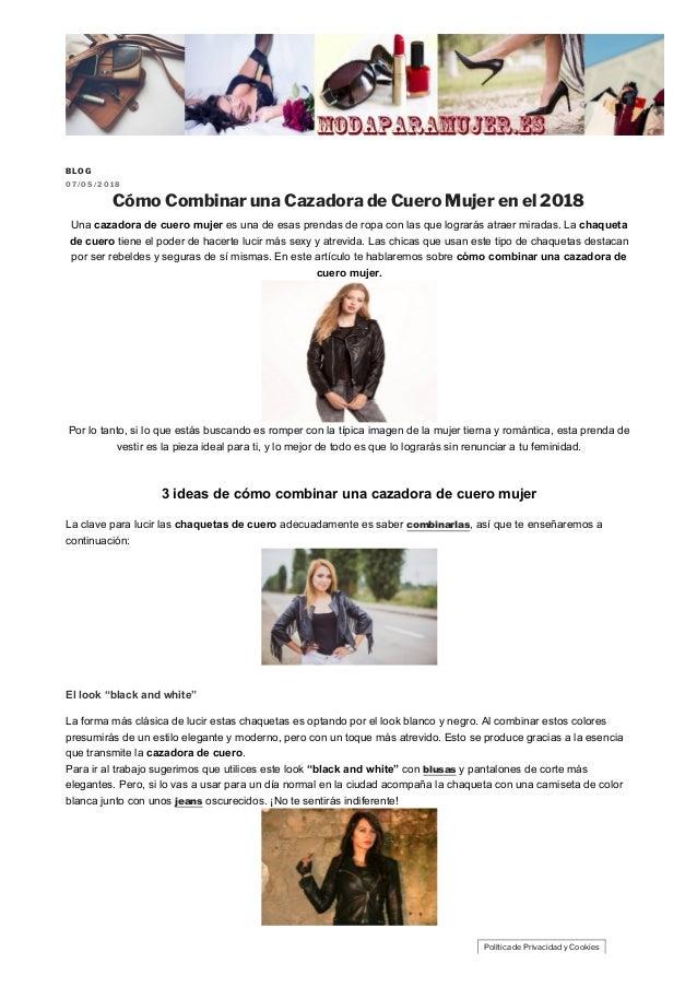 de4e4892d Blog moda para mujer. BLOG 0 7 / 0 5 / 2 0 1 8 Cómo Combinar una Cazadora  de ...