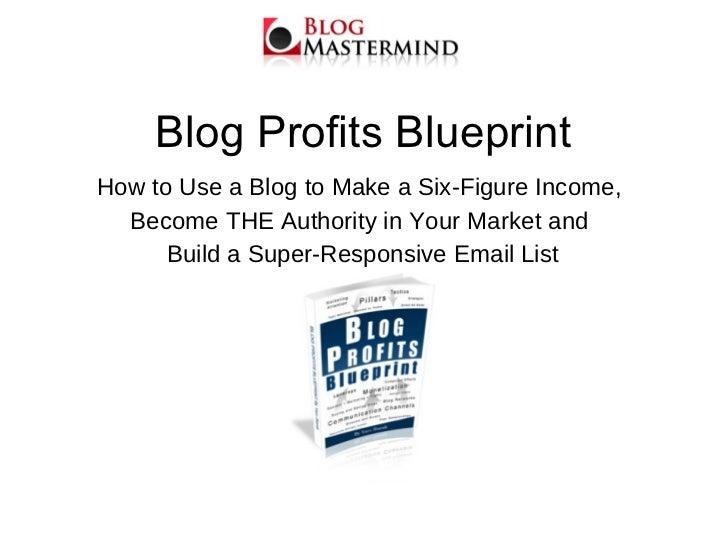 Blog Profits Blueprint <ul><li>How to Use a Blog to Make a Six-Figure Income,  </li></ul><ul><li>Become THE Authority in Y...