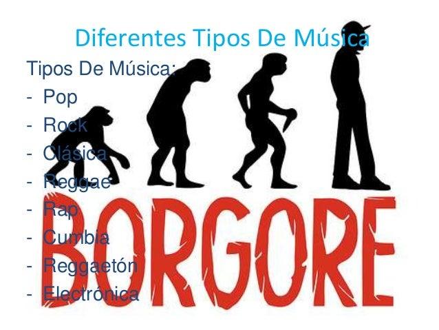 Diferentes Tipos De Música Tipos De Música: - Pop - Rock - Clásica - Reggae - Rap - Cumbia - Reggaetón - Electrónica