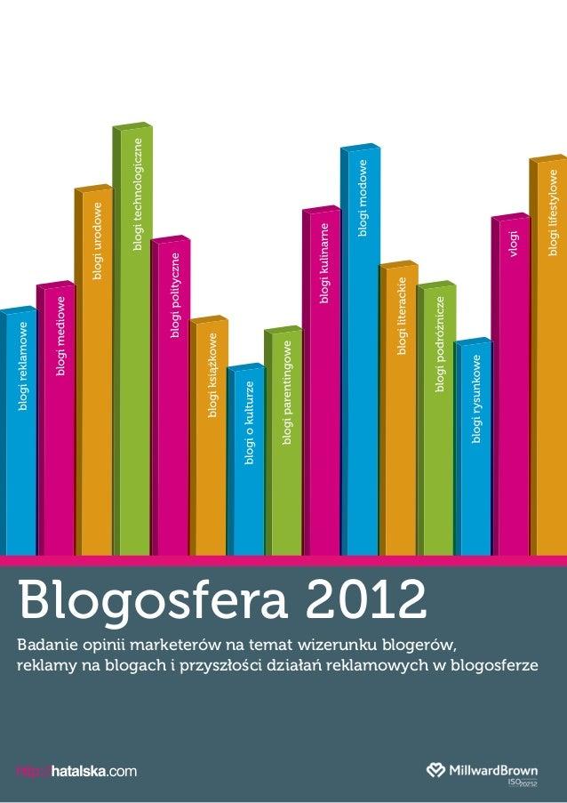 Blogosfera 2012Badanie opinii marketerów na temat wizerunku blogerów,reklamy na blogach iprzyszłości działań reklamowych ...
