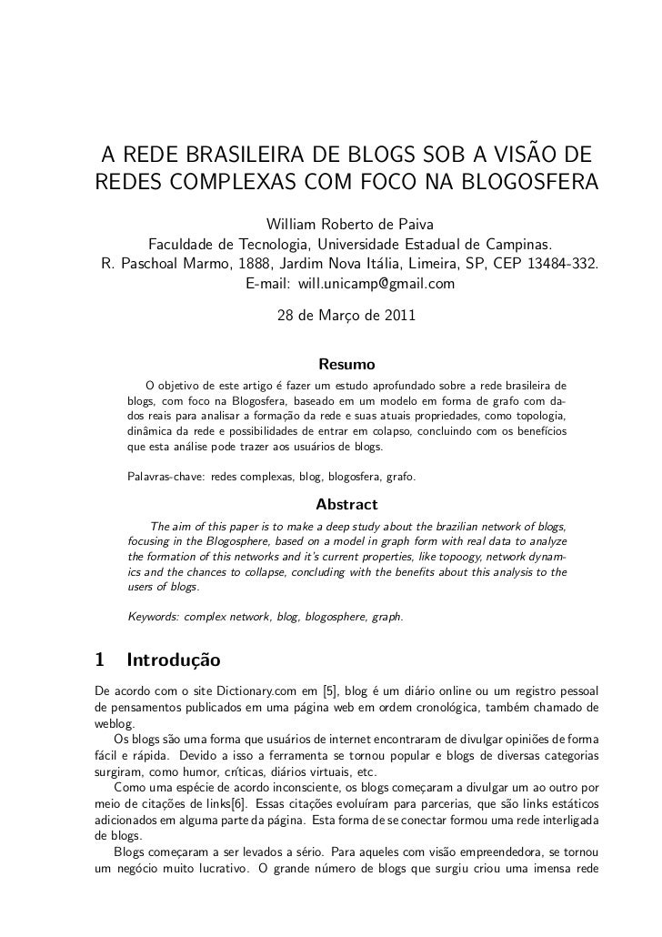 ˜A REDE BRASILEIRA DE BLOGS SOB A VISAO DEREDES COMPLEXAS COM FOCO NA BLOGOSFERA                         William Roberto d...