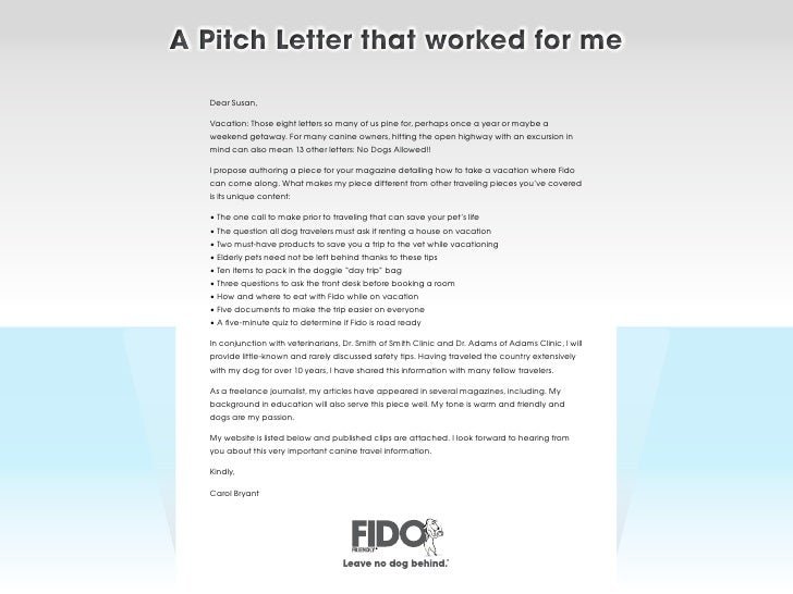 Writing a pitch letter for an article